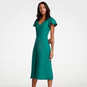 ANN TAYLOR Linen Flutter Sleeve Dress